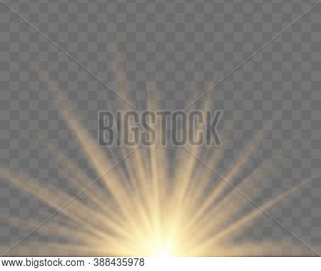 Set Of Yellow, Gold Glowing Light Explodes On A Transparent Background. Sparkling Magical Dust Parti