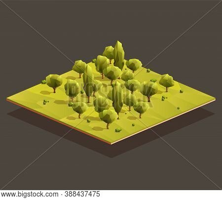 Isometric Woods Area. Low Poly Vector Illustration