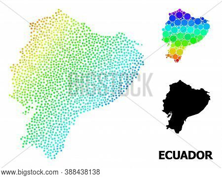 Dot Bright Spectral, And Monochrome Map Of Ecuador, And Black Title. Vector Model Is Created From Ma
