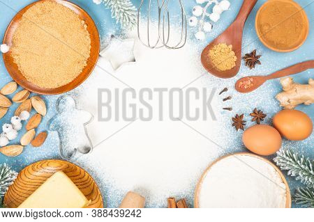Christmas Gingerbread Cookies Cooking Background Flat Lay Top View Template With Copy Space For Text