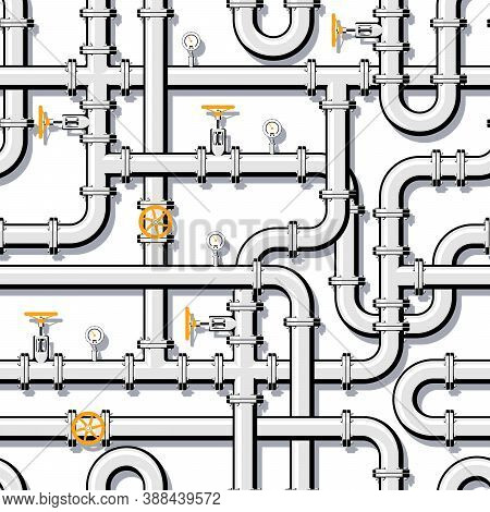 Pipeline Seamless Pattern. Branching And Intertwining Pipes With Taps And Manometers. Realistic Vect
