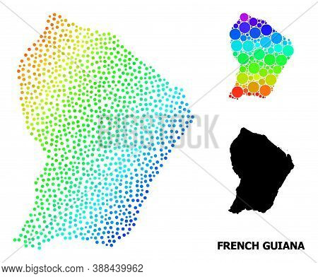 Dotted Spectrum, And Monochrome Map Of French Guiana, And Black Caption. Vector Model Is Created Fro
