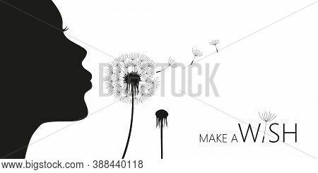 Girl Blows Dandelion Make A Wish Vector Illustration Eps10