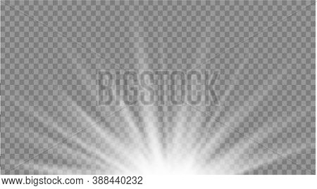 Set Of White Glowing Light Explodes On A Transparent Background. Sparkling Magical Dust Particles. B