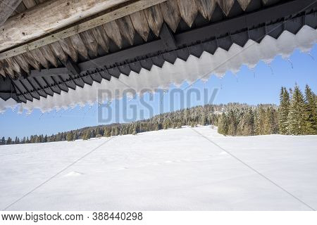 Icicles On The Roof . Around Oravice. Tatry. Slovakia.