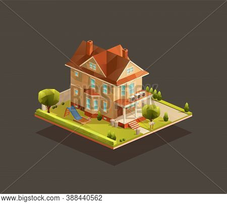 Isometric Family House With A Playground. Low Poly Suburban Vector Illustration