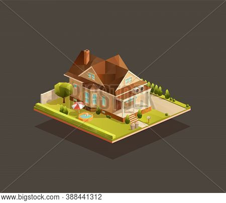 Isometric Poor Family House With Porch. Low Poly Suburban Vector Illustration