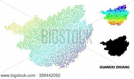 Dotted Rainbow Gradient, And Monochrome Map Of Guangxi Zhuang Region, And Black Caption. Vector Stru