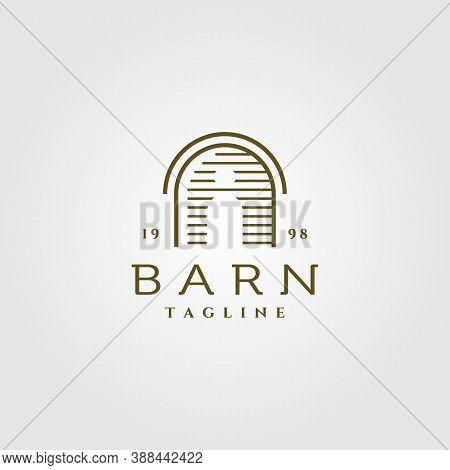 Line Art Barn Logo Vector Illustration Design, Vintage Barn Logo Design