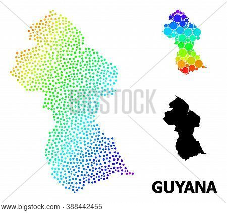 Pixelated Spectrum, And Monochrome Map Of Guyana, And Black Caption. Vector Structure Is Created Fro