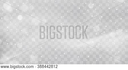 Vector Heavy Snowfall, Snowflakes In Different Shapes And Forms. Snow Flakes, Snow Background. Falli