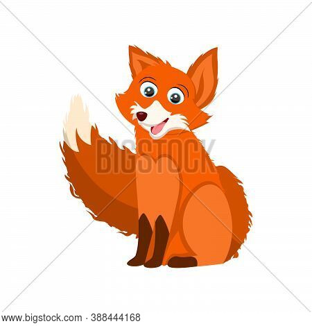 A Funny Fox Cub Sits And Smiles. Vector Cartoon Fox With A Smile On His Face.