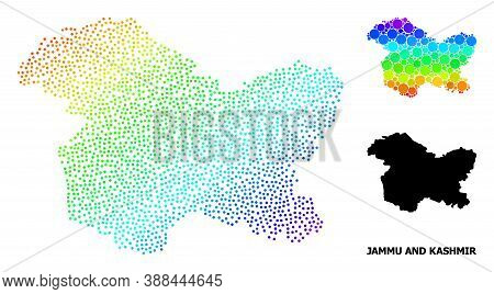 Pixelated Rainbow Gradient, And Solid Map Of Jammu And Kashmir State, And Black Title. Vector Struct