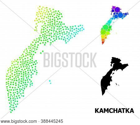 Dot Spectral, And Monochrome Map Of Kamchatka Peninsula, And Black Name. Vector Structure Is Created