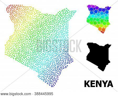 Pixelated Spectral, And Solid Map Of Kenya, And Black Tag. Vector Model Is Created From Map Of Kenya