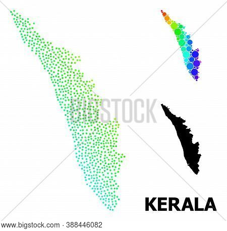 Dotted Spectral, And Monochrome Map Of Kerala State, And Black Title. Vector Model Is Created From M