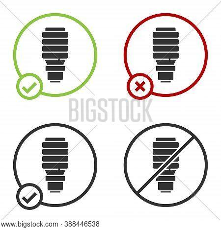 Black Led Light Bulb Icon Isolated On White Background. Economical Led Illuminated Lightbulb. Save E