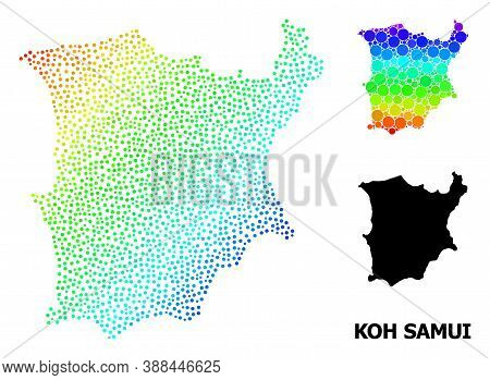 Dot Bright Spectral, And Monochrome Map Of Koh Samui, And Black Text. Vector Structure Is Created Fr