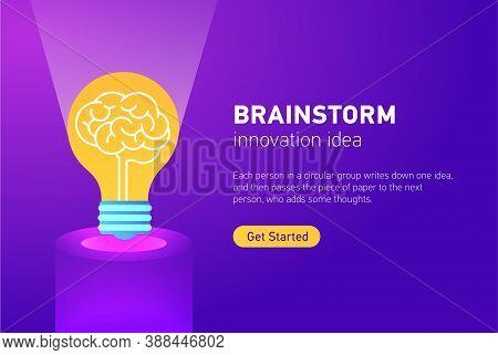 Brainstorm. Idea Man. Concept Of Teamwork And Creativity. Template Layout. Infographic With Brainsto