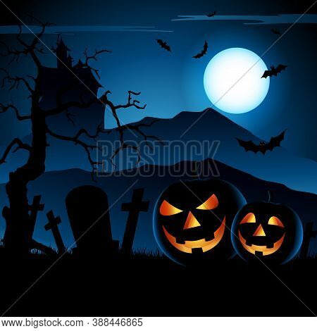 Halloween Blue Night Poster With Grinning Pumpkins Template Vector Eps 10