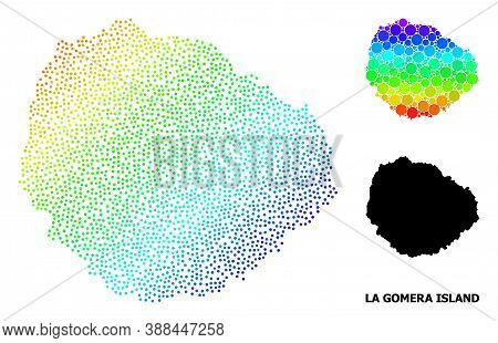Dotted Spectral, And Solid Map Of La Gomera Island, And Black Name. Vector Model Is Created From Map