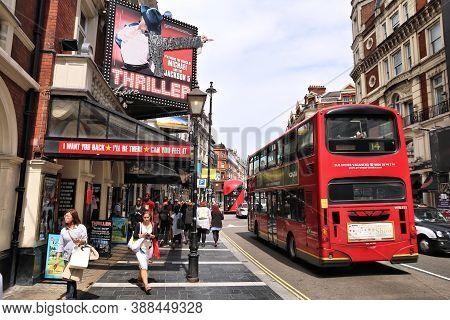 London, Uk - July 7, 2016: People Walk By Lyric Theatre In West End, London, Uk. West End Theatres S