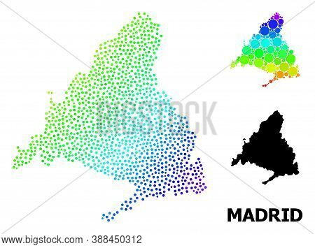 Pixelated Spectrum, And Monochrome Map Of Madrid Province, And Black Name. Vector Model Is Created F