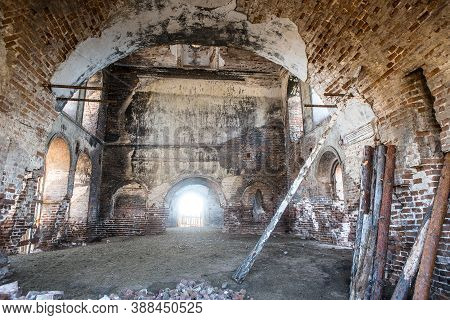 Interior Of The Old Destroyed Temple Urals Rossiya