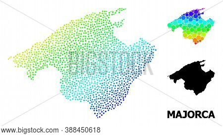 Pixelated Bright Spectral, And Monochrome Map Of Majorca, And Black Caption. Vector Model Is Created