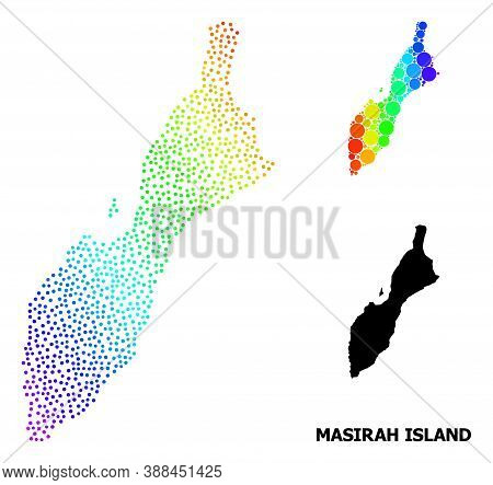 Pixel Bright Spectral, And Solid Map Of Masirah Island, And Black Name. Vector Structure Is Created
