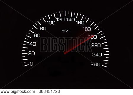 200 Kilometers Per Hour,light With Car Mileage With Black Background,number Of Speed,odometer Of Car