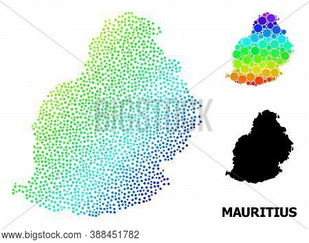 Pixelated Rainbow Gradient, And Monochrome Map Of Mauritius Island, And Black Caption. Vector Struct