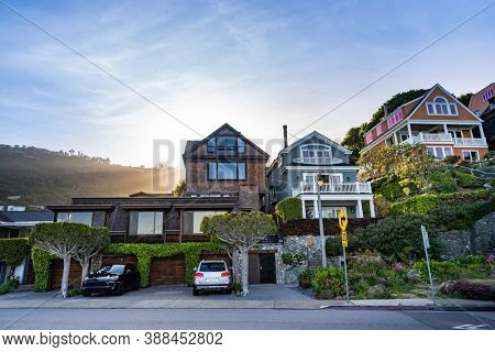 Beautiful cityscape of Sausalito Resort town for San Francisco people in North California USA West Coast of Pacific Ocean, San Francisco United States Landmark Travel Destination cityscape concept.