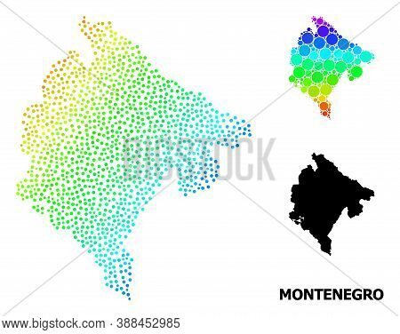 Pixel Spectrum, And Monochrome Map Of Montenegro, And Black Text. Vector Structure Is Created From M