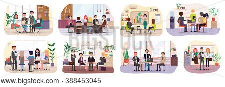 Business Characters In Meeting Room Working At Their Workplaces Flat Design. Debate Group People In