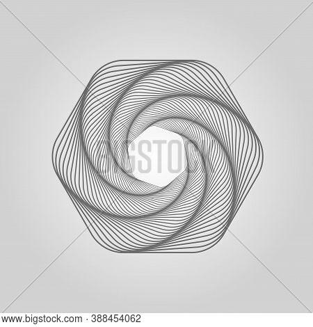 Hexagon Line Art. Spiral Waves. Circular Soundwave. Spirograph. Swirl Tunnel. Wavy Wireframe Structu