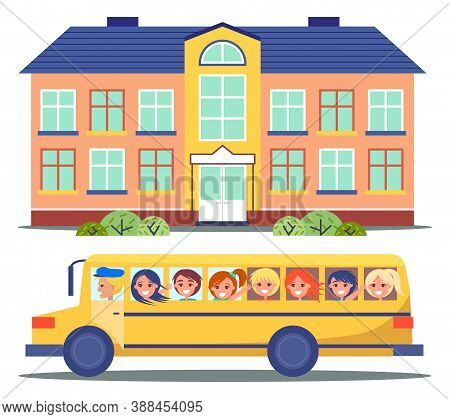 School Bus, Vector Illustration Of A School Bus With Driver And Happy School Kids On The Road. Group