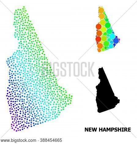 Pixelated Rainbow Gradient, And Monochrome Map Of New Hampshire State, And Black Name. Vector Struct