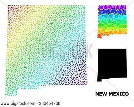 Pixel Spectral, And Solid Map Of New Mexico State, And Black Name. Vector Structure Is Created From