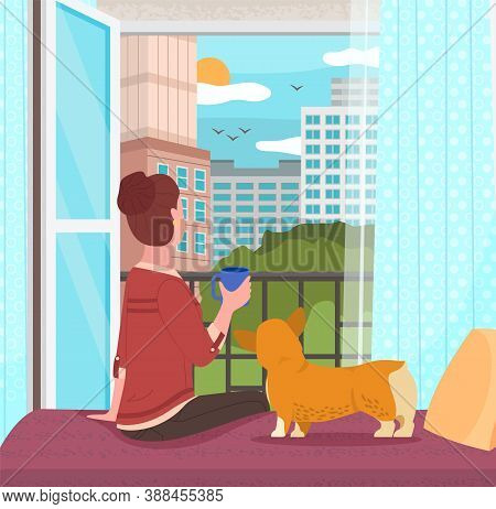 Woman Sitting On Windowsill At Home With Her Corgi Dog Looking Out The Window, Relaxing Drinking Tea
