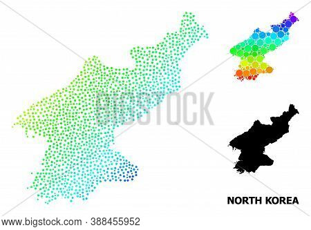 Pixelated Rainbow Gradient, And Monochrome Map Of North Korea, And Black Caption. Vector Model Is Cr