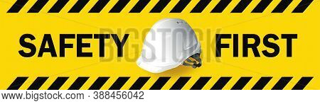 Work Safety, Engineer Helmet On Yellow Background, Safety Equipment, Construction Concept, Vector De