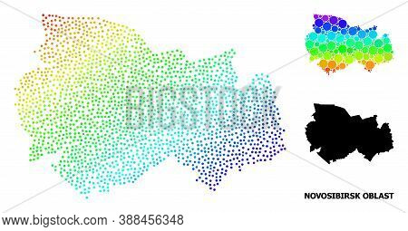 Dotted Bright Spectral, And Monochrome Map Of Novosibirsk Region, And Black Title. Vector Structure