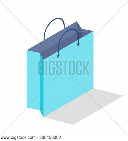Empty Shopping Blue Paper Bag Isolated On White Background For Advertising And Branding. Paper Packa