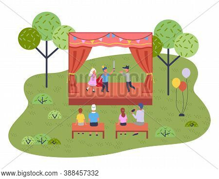 Musical Concert In The Garden. Children S Theatrical Performance On The Stage In The Open Summer Pla
