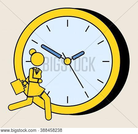 Yellow Silhouette Of A Running Girl On The Background Of A Large Watch Dial. Woman With Bag Is Late