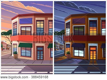Street Of Town With Vintage Low Houses Evening And Night Time Lighting, The Historic Urban Area With