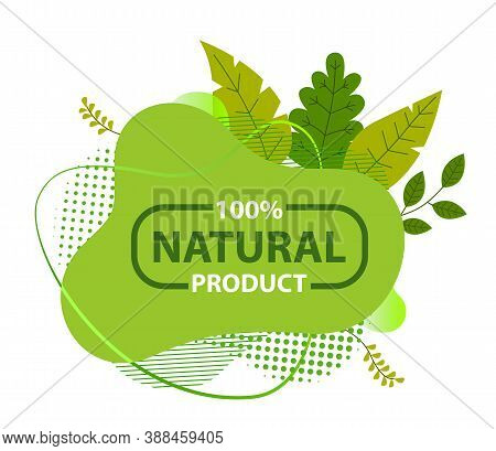 Natural Product Green Sign With Tree Leaves And Lettering Logo Ecological Concept. Healthy Lifestyle