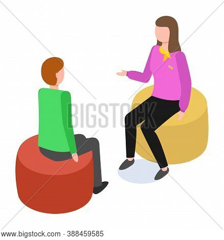 Businesspeople Colleagues Man And Woman Are Communicating Sitting On Puff. Office Characters Are Dis