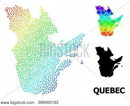 Pixel Spectral, And Solid Map Of Quebec Province, And Black Title. Vector Model Is Created From Map